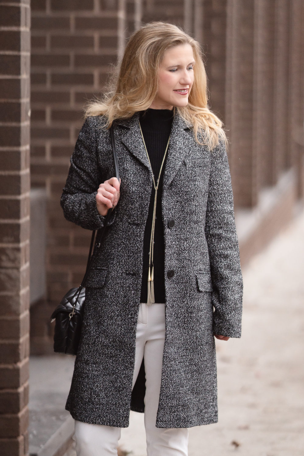 Petite Fashion and Style Blog |Lark & Ro Single Breasted Walker Coat | Amazon Cashmere Sweater