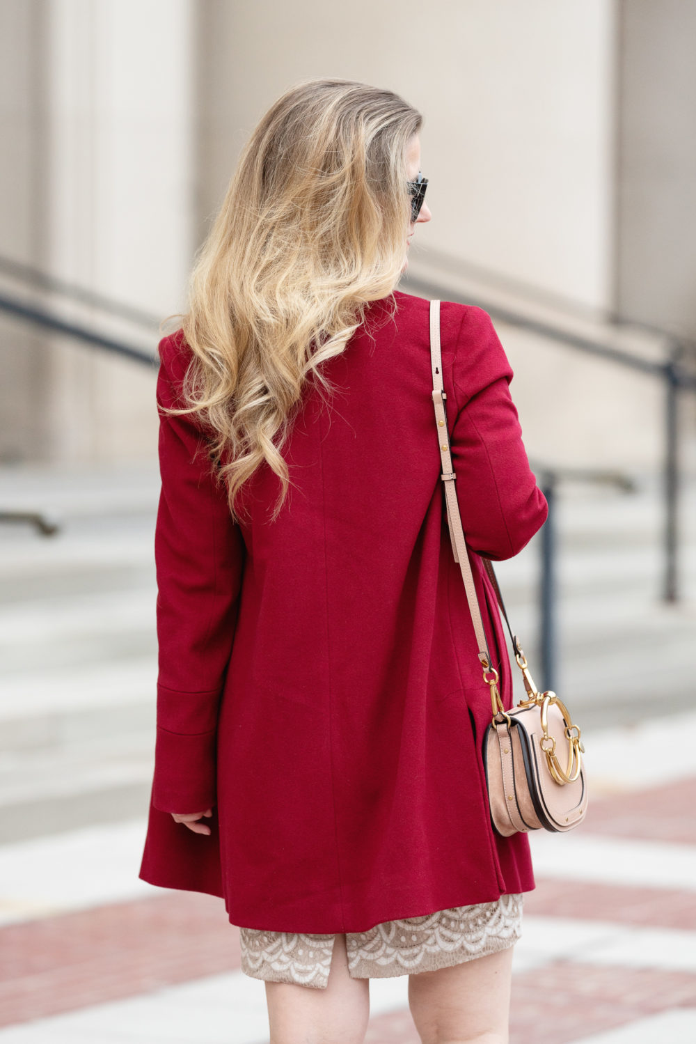 Petite Fashion and Style Blog | Nancy Pelosi Coat | Fleurette Red Coat | Eliza J Lace Dress