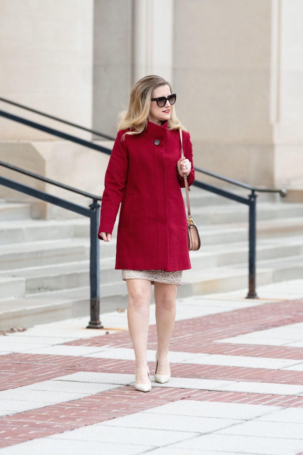 Petite Fashion and Style Blog | Nancy Pelosi Coat | Fleurette Red Coat | Eliza J Lace Dress | Max Mara Red Coat