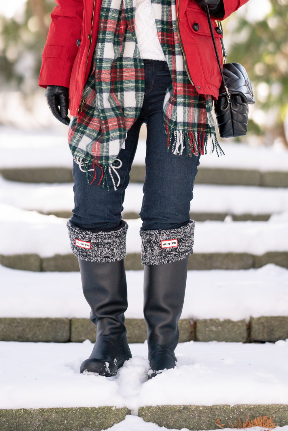 Petite Fashion and Style Blog | Pendleton Down Fur Trim Coat | Black Hunter Boots | Hunter Boot Socks