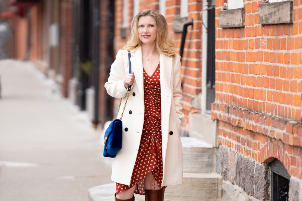 Petite Fashion Blog | Petite Style | Amazon Dresses | Polkadot Dress | Club Monaco Coat | Ivory Wool Coat | Gucci Marmont Bag | Petite Fashion | Dresses for Petite Women