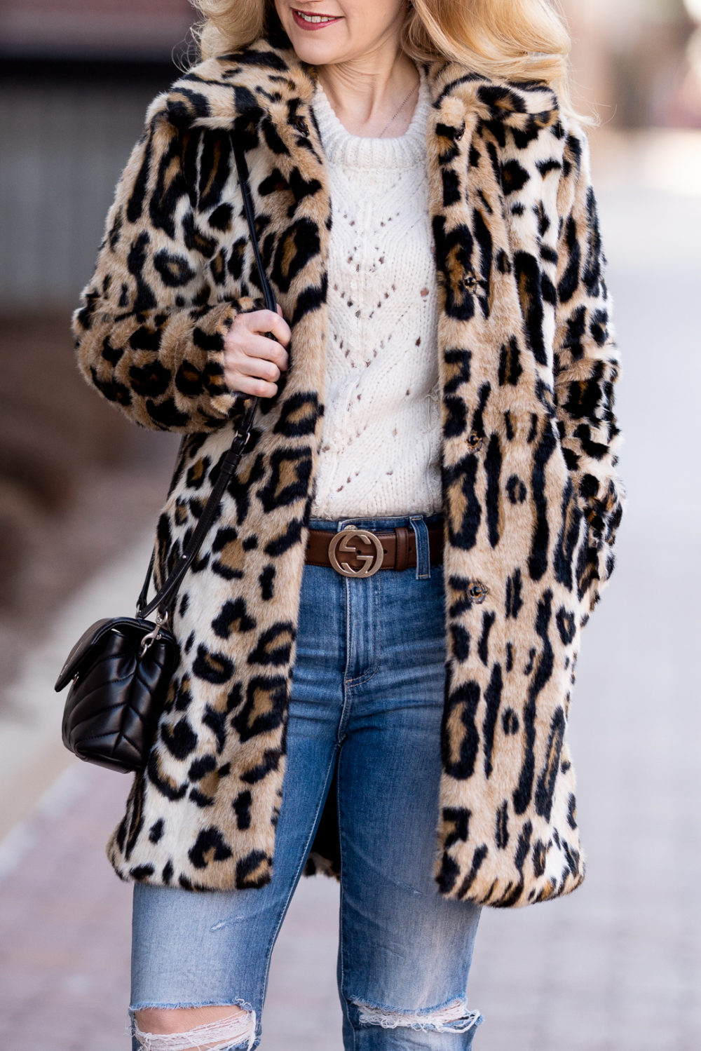 Petite Fashion Blog | Petite Style | Kensie Leopard Coat | Topshop Pointelle Sweater | Gucci Belt | AG Isabella Crop Jeans | YSL Lou Lou Toy Crossbody Bag
