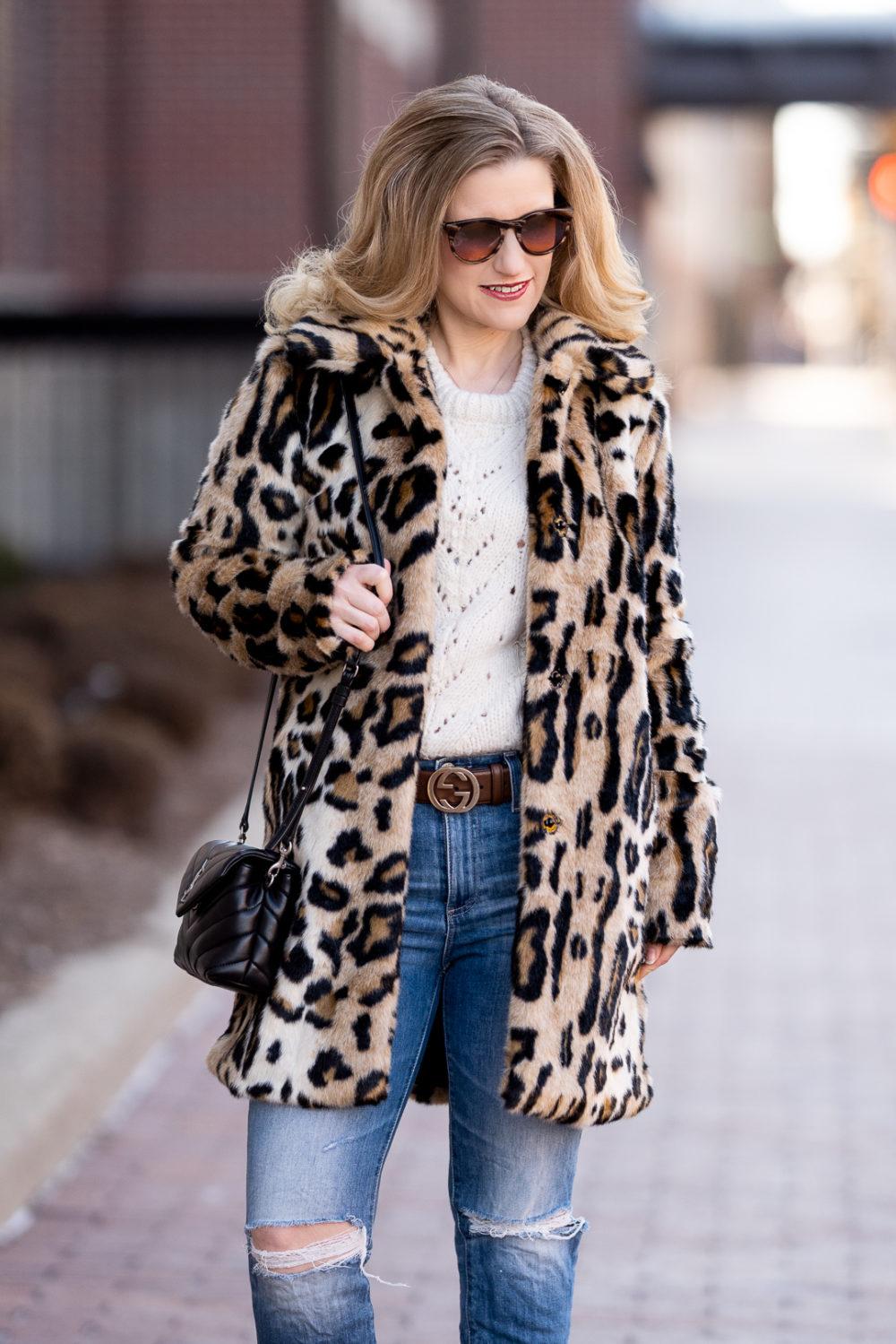 Petite Fashion Blog | Petite Style | Kensie Leopard Coat | Topshop Pointelle Sweater | Gucci Belt | AG Isabella Crop Jeans | YSL Lou Lou Toy Crossbody Bag