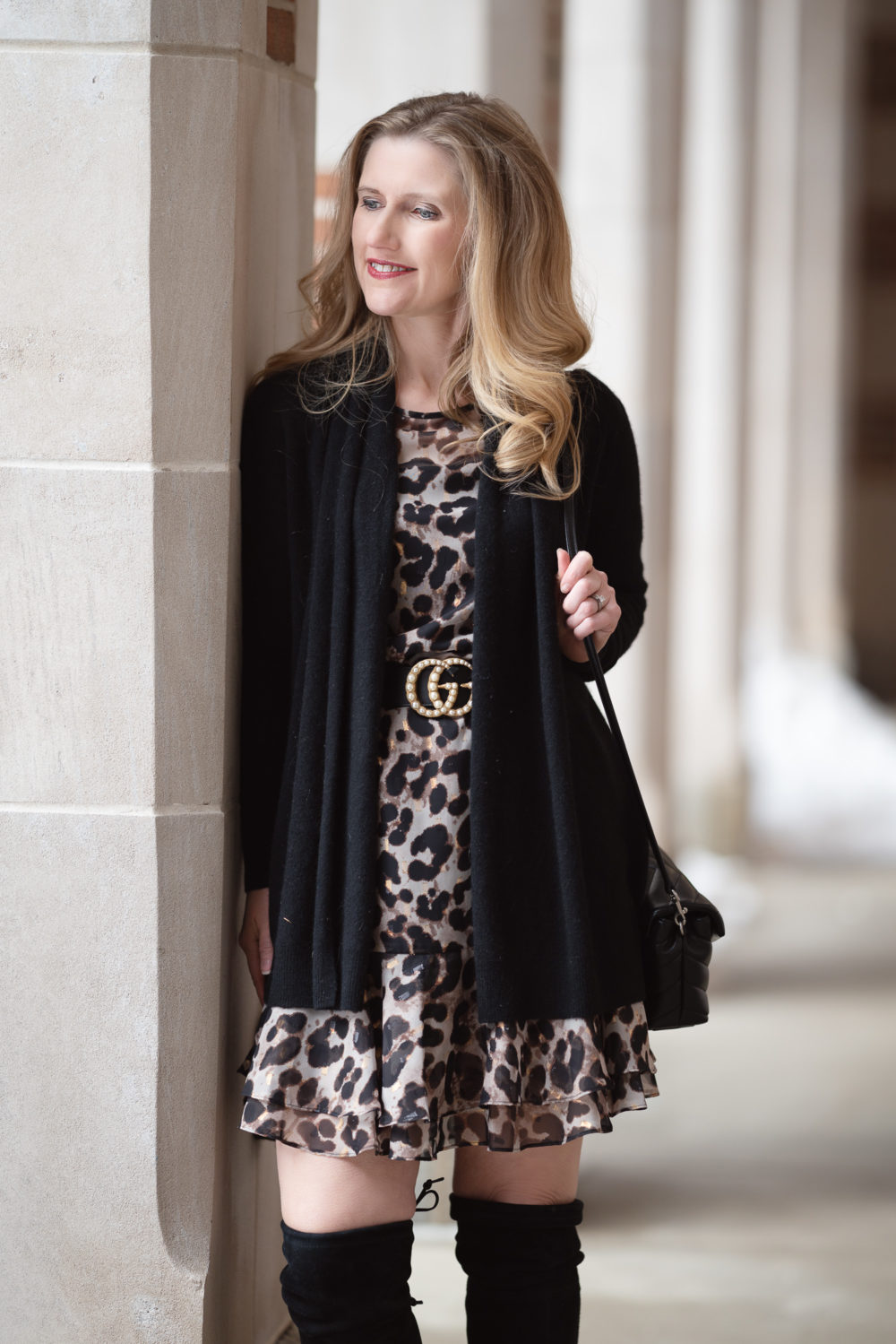 Petite Fashion and Style Blog |Eliza J Flounce Sleeve Leopard Dress | C by Bloomingdales cardigan | Stuart Weitzman Highland boots | Leopard Dress