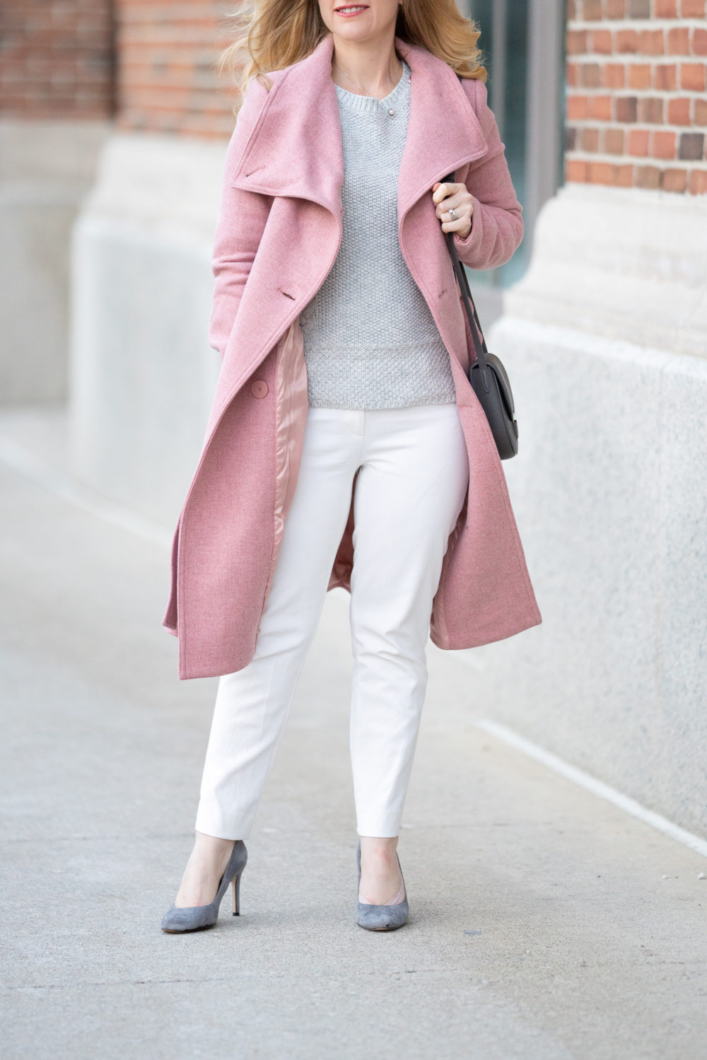 Petite Fashion and Style Blog | Mango Pink Coat | Pink Wool Coat | Pink Belted Wool Coat | Ann Taylor Cable Knit Sweater | White House Black Market Slim Ankle Pants