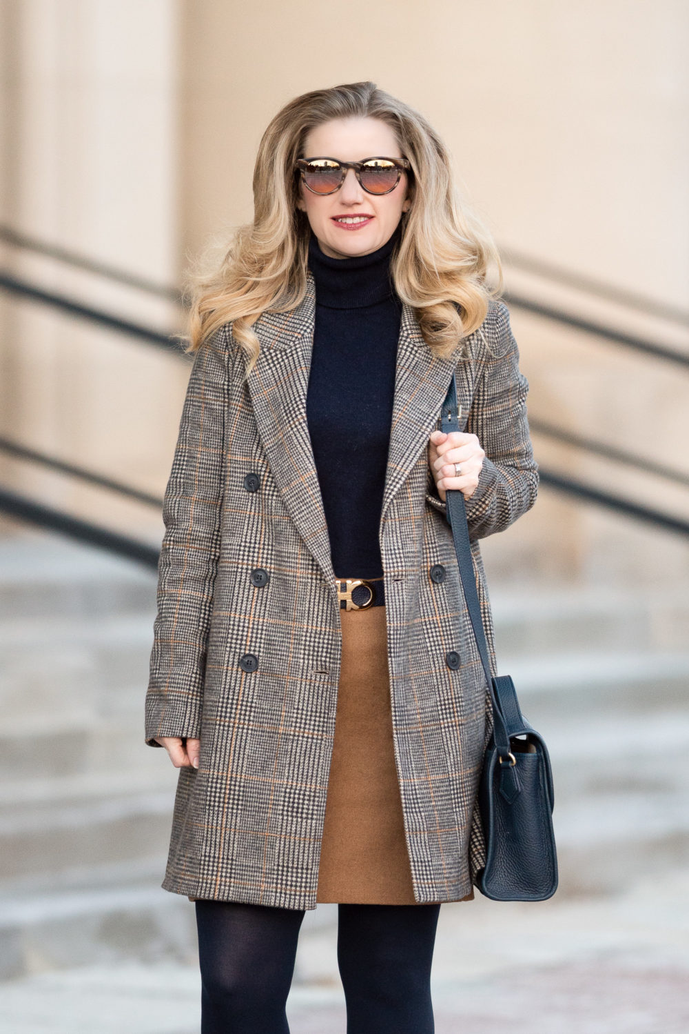 Petite Fashion and Style Blog |Zara Plaid Coat | J. Crew Factory Wool Pencil Skirt | Ferragamo Belt