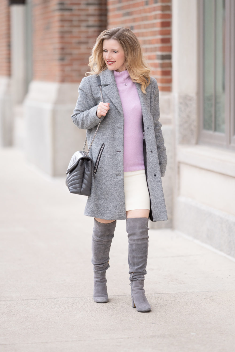 Petite Fashion Blog | J. Crew Mockneck Sweater | J. Crew Ivory Wool Skirt | Grey Suede Over the Knee Boots | Saint Laurent Loulou Bag