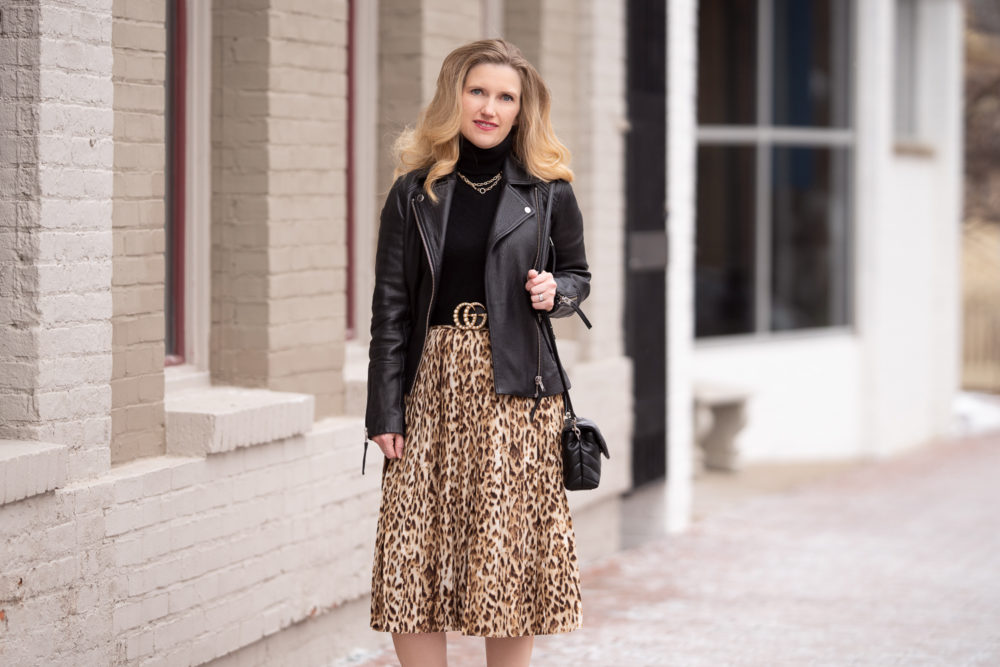 Petite Fashion Blog | J. Crew Pleated Leopard Midi Skirt | Topshop Leather Moto Jacket