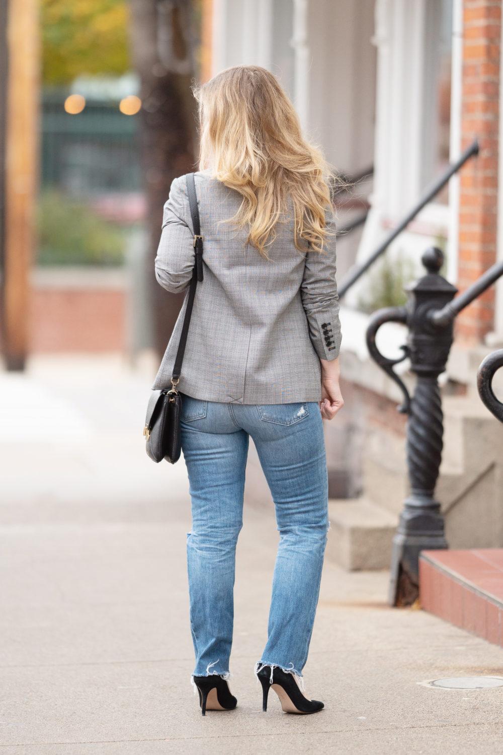Petite Fashion Blog | Petite Style | 1.State Glen Plaid Blazer | J. Crew Factory Scalloped Cami | AG Isabelle Straight Leg Jeans | Demeiller Mini Berling Bag