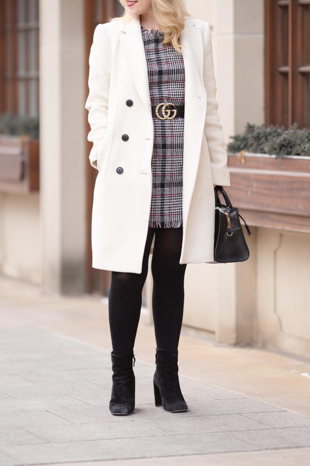 Petite Fashion Blog | Petite Style | Aqua Plaid Tweed Dress | Plaid Dress