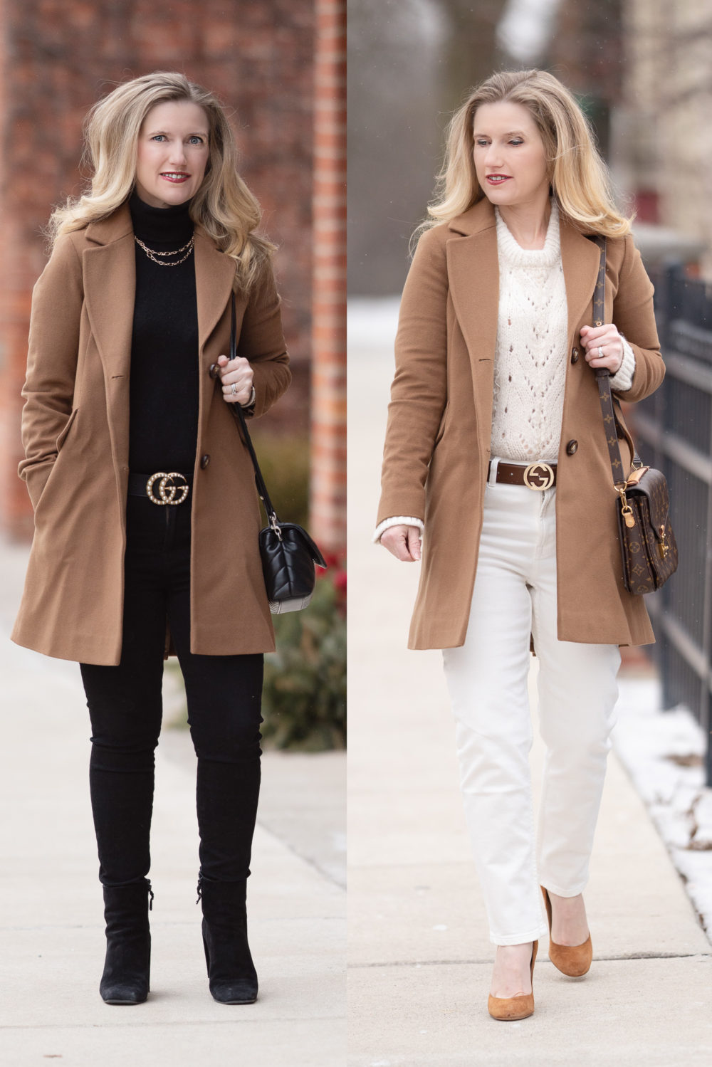 Petite Fashion Blog | Petite Style | Fleurette Notch Collar Wool Coat | Gucci Pearl Belt | Lark and Ro Cashmere Turtleneck | Everlane High Rise Straight Leg Jeans | Topshop Pointelle Lace Sweater | Camel Coat