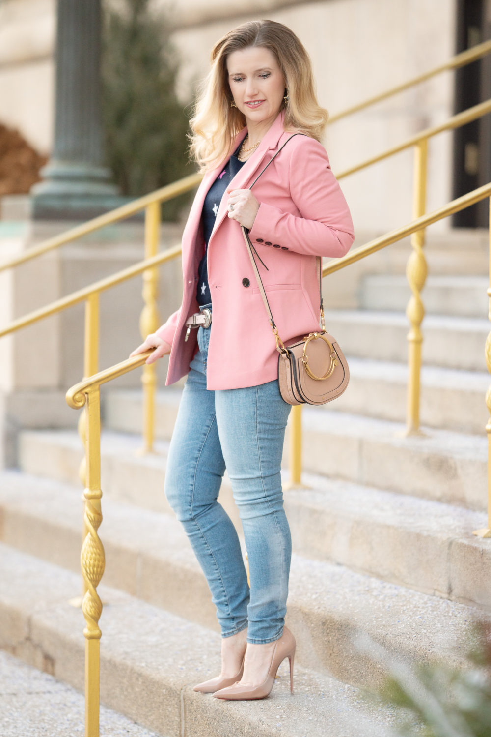 Petite Fashion Blog | Petite Style | Halogen Pink Blazer | J. Crew Cashmere Crewneck Sweater in Stars | 9 high-rise toothpick eco jean in light blue wash | Christian Louboutin So Kate Pumps