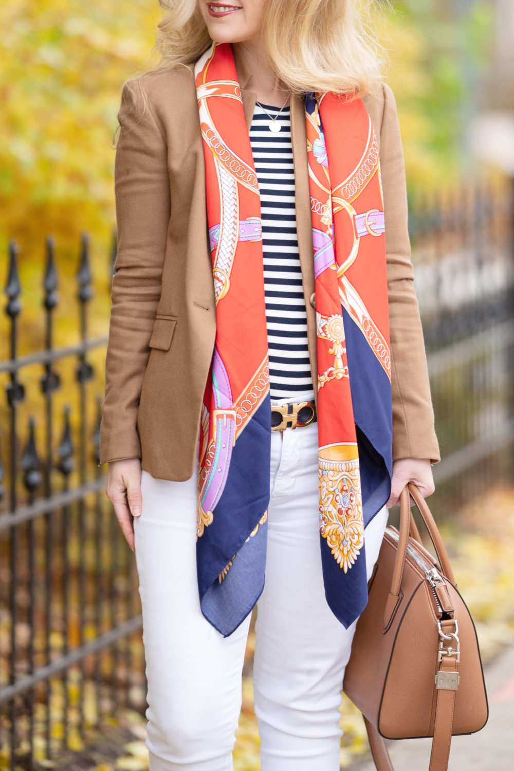 Petite Fashion Blog | Petite Style | J. Crew Regent Blazer | J. Crew Slim perfect long-sleeve T-shirt | Tuckernuck Colette Scarf | Everlane Day Heel | Gienchy Antogona Bag | Ferragamo Reversible Belt