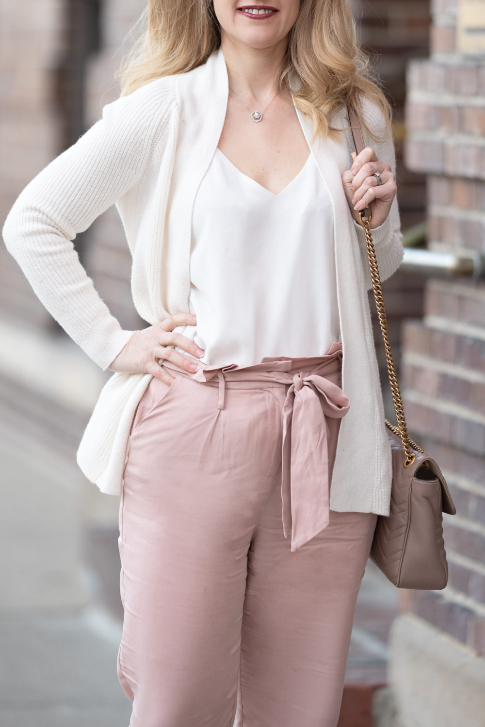 Petite Fashion Blog | Socialite Paper Bag Trousers | Loft Ribbed Cardigan | Gucci Marmont Shoulder Bag
