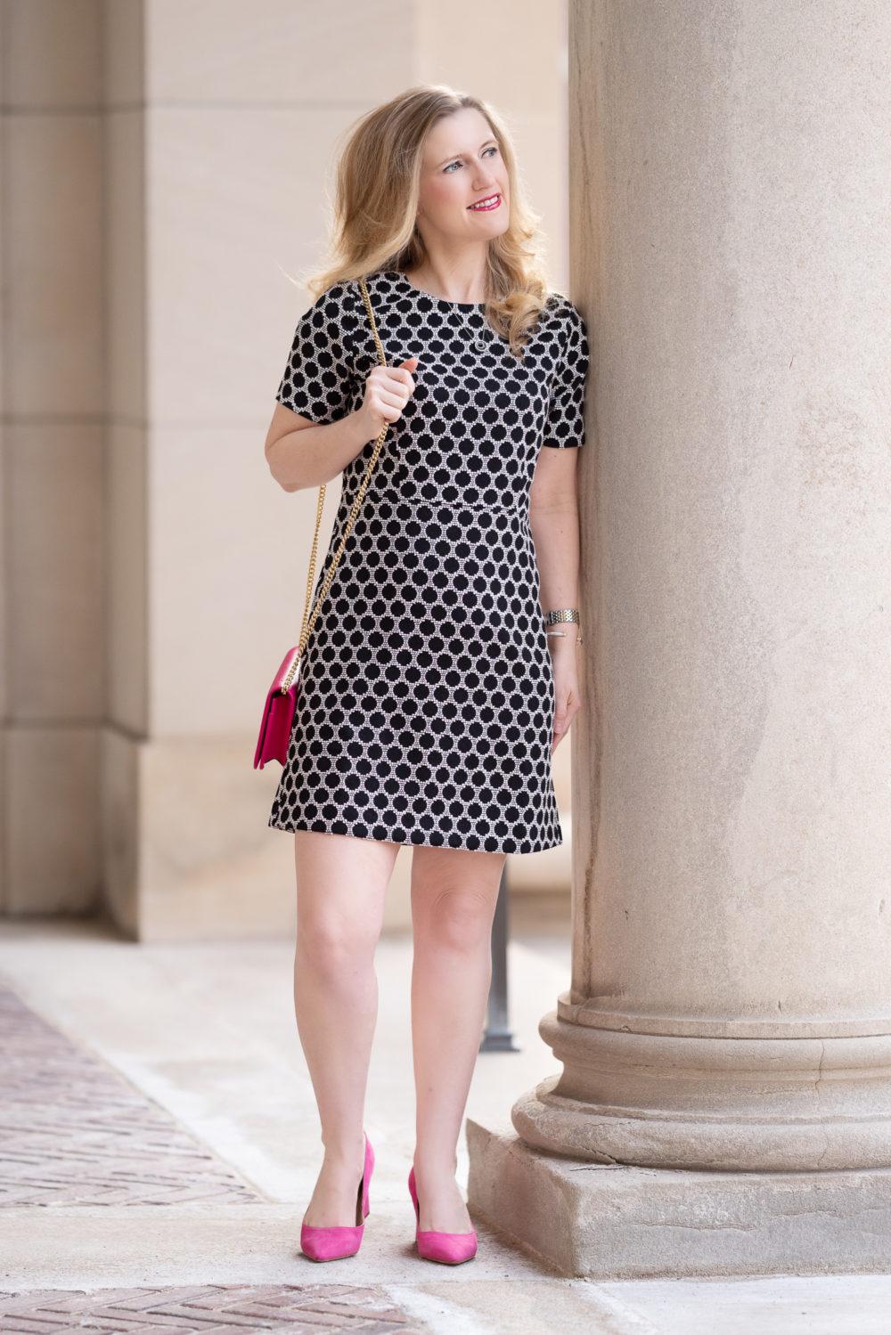 Petite Fashion Blog | Ann Taylor Textured Polka Dot Shift Dress | Gucci Marmont Mini Chain Bag | Marc Fisher Zala Pump