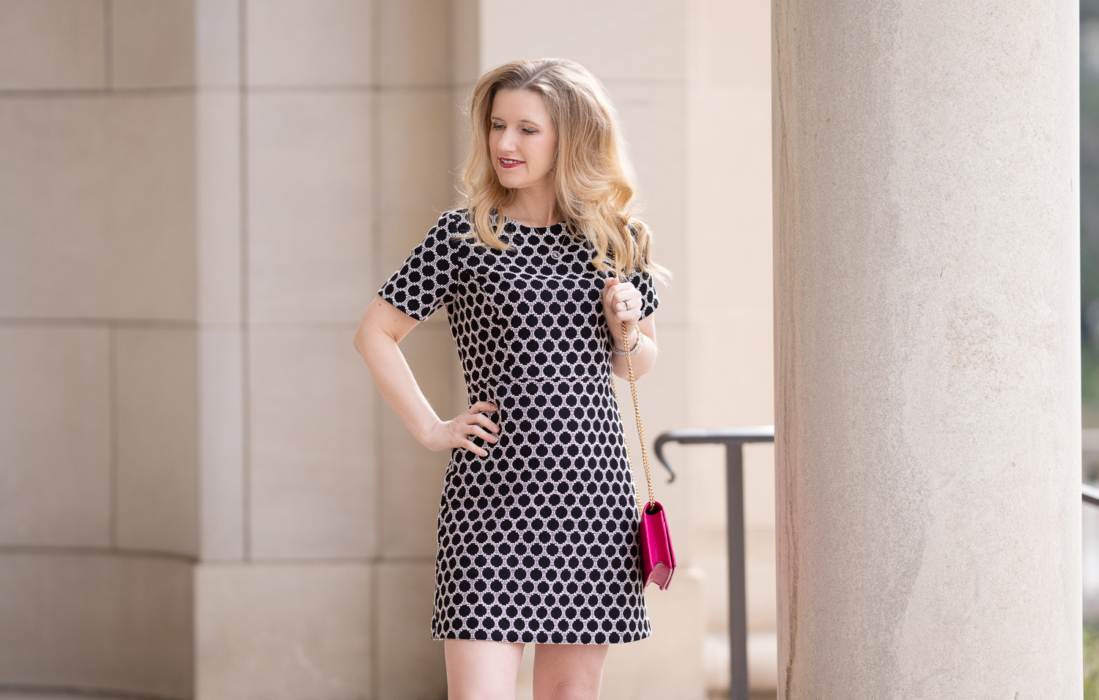 Petite Fashion Blog | Ann Taylor Textured Polka Dot Shift Dress | Gucci Marmont Mini Chain Bag | Marc Fisher Zala Pump