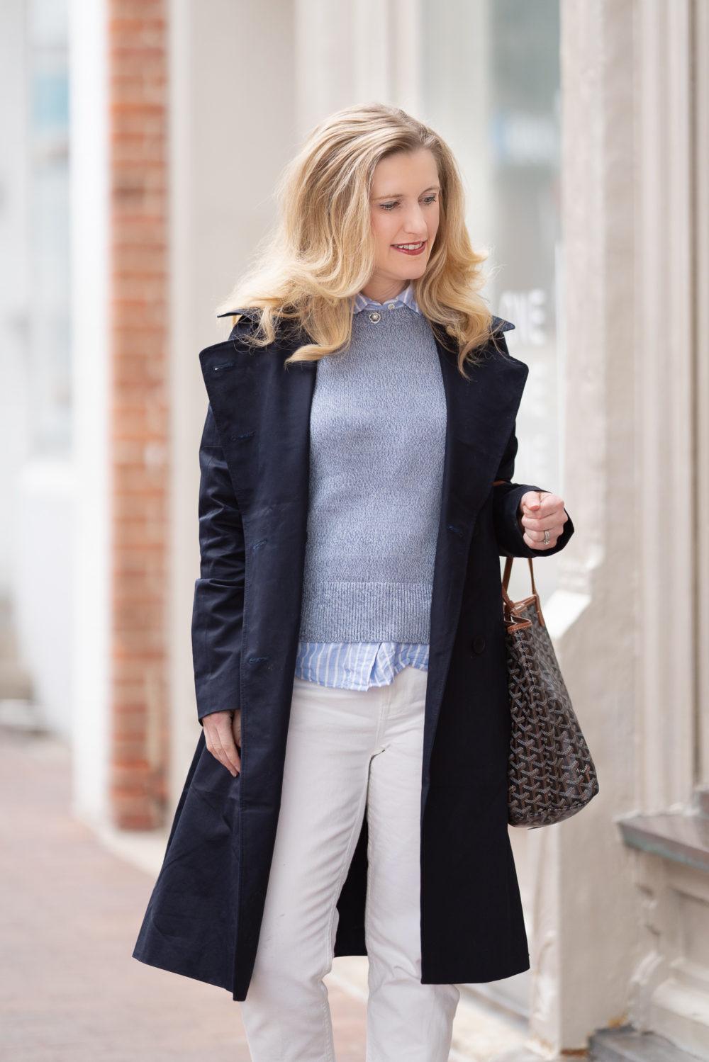 Petite Fashion Blog | Everlane Drape Trench Coat | Everlane Soft Cotton Crew | Everlane Cheeky Straight Jean | Everlane Day Heel