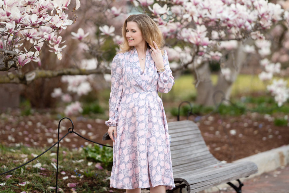 Petite Fashion Blog | Smithsonian Gardens | Gal Meets Glam Dresses | Magnolia Trees in Bloom | Magnolia Trees