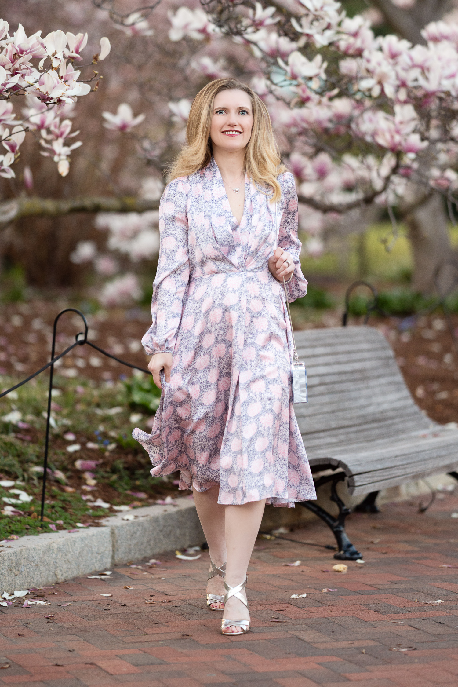 Petite Fashion Blog Gal Meets Glam Dress Magnolia Tree Bloom 5