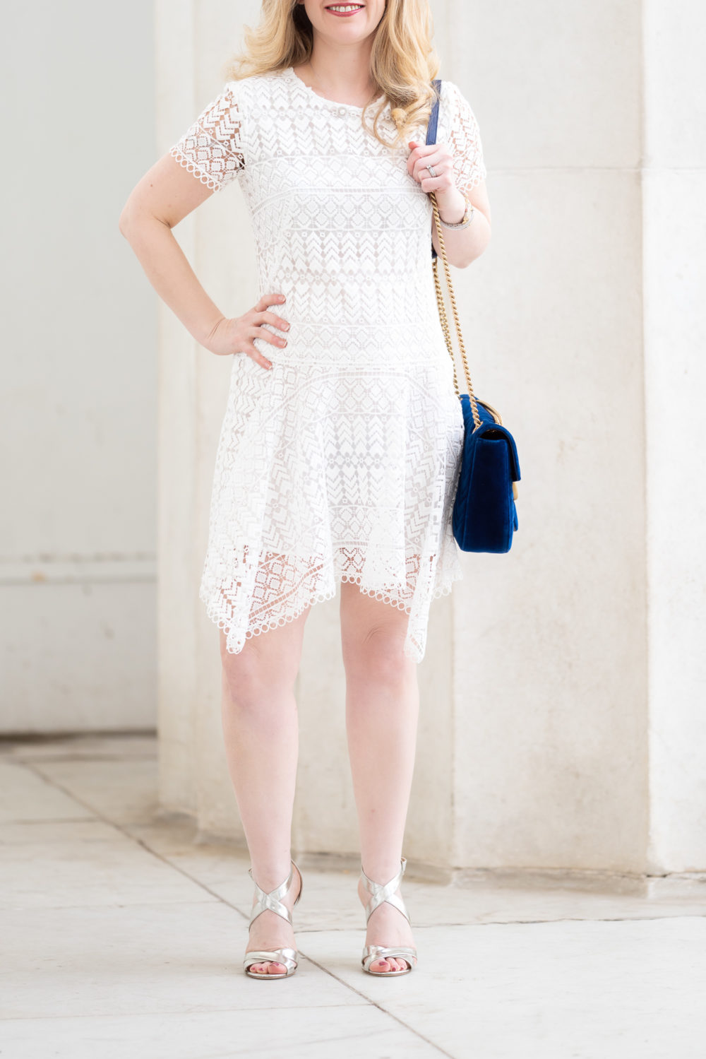 Petite Fashion Blog | Gucci Marmont Velvet Bag | Designer Bags on eBay | Anthropologie Anika Lace Dress | Jimmy Choo Sandals | Michele Deco Diamond Watch | David Yurman Bracelet