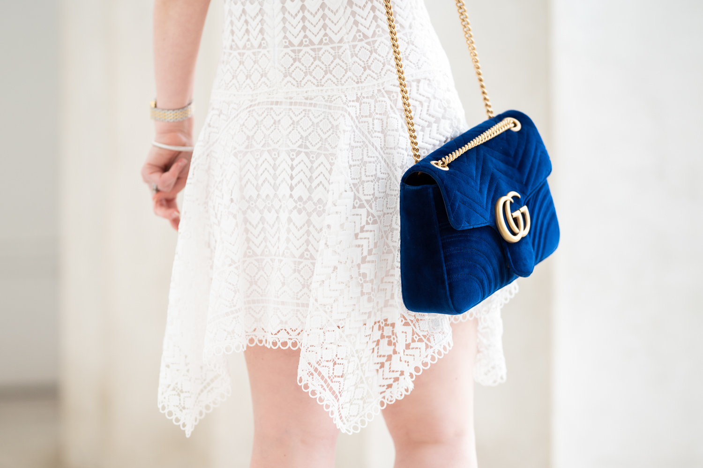 5ac1568ec701 Petite Fashion Blog | Gucci Marmont Velvet Bag | Designer Bags on eBay |  Anthropologie Anika