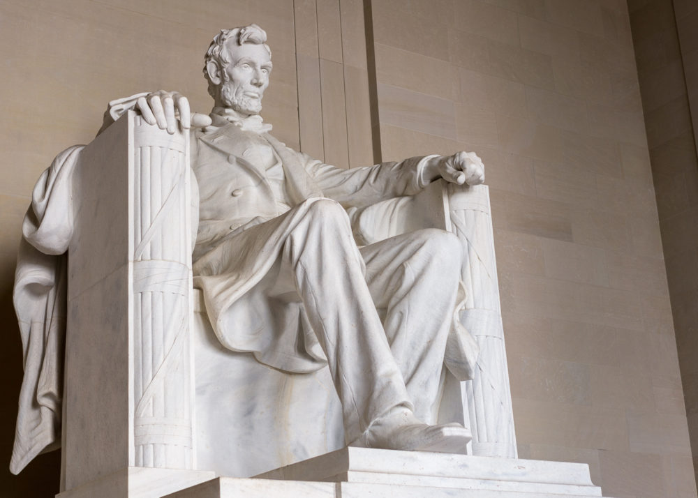 Statue of President Lincoln in Lincoln Memorial