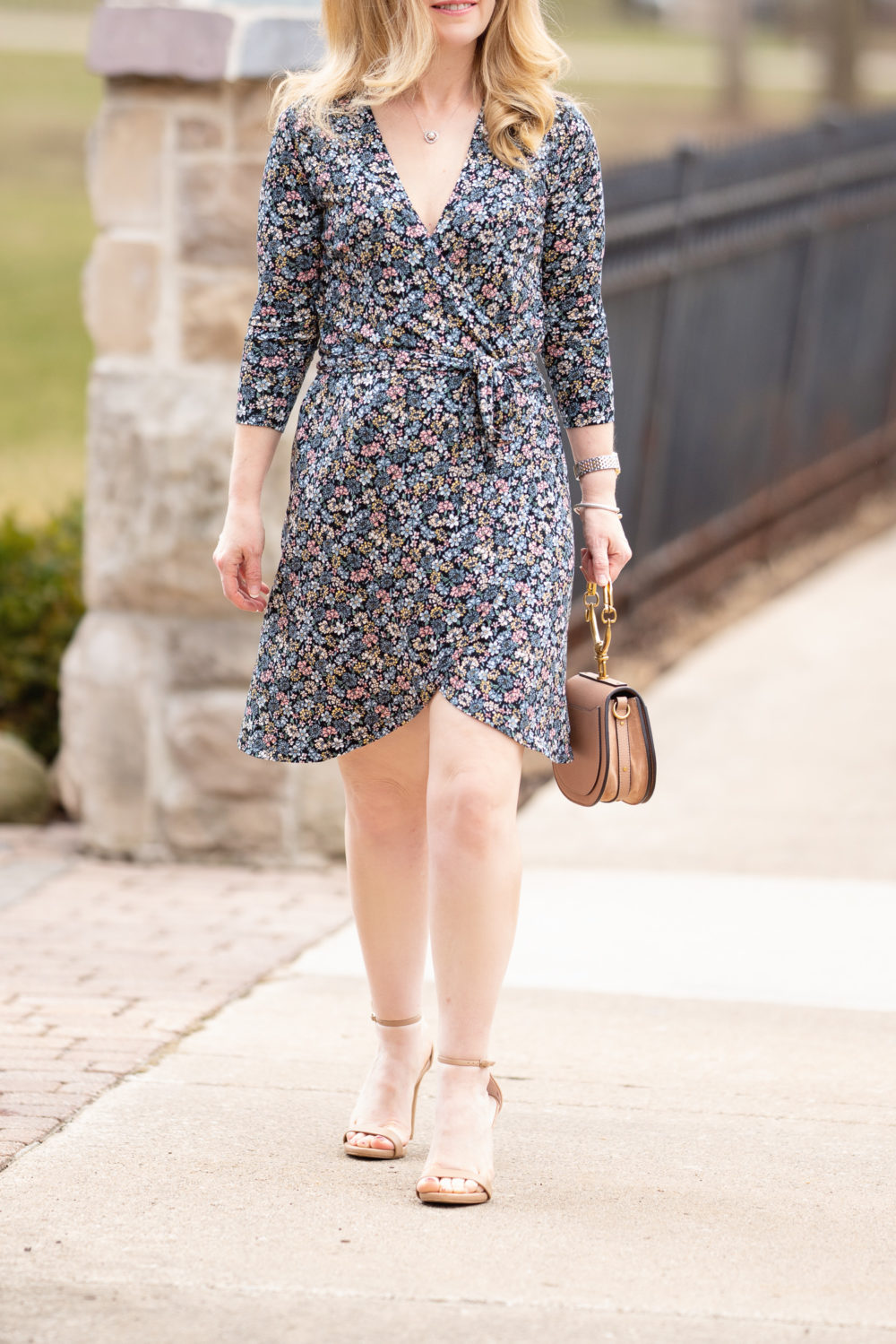 Petite Fashion Blog | Loft Floral Wrap Dress | Chloe Nile Satchel | Steve Madden Stecey Sandals