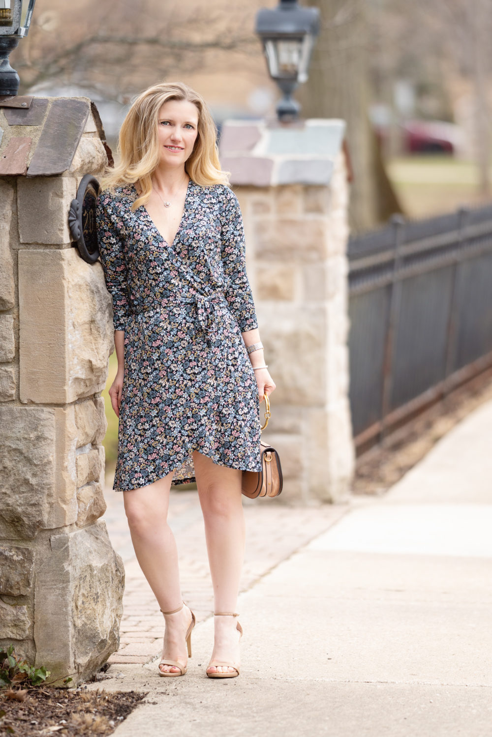 Petite Fashion Blog | Loft Floral Wrap Dress | Chloe Nile Satchel | Steve Madden Stecey Sandals