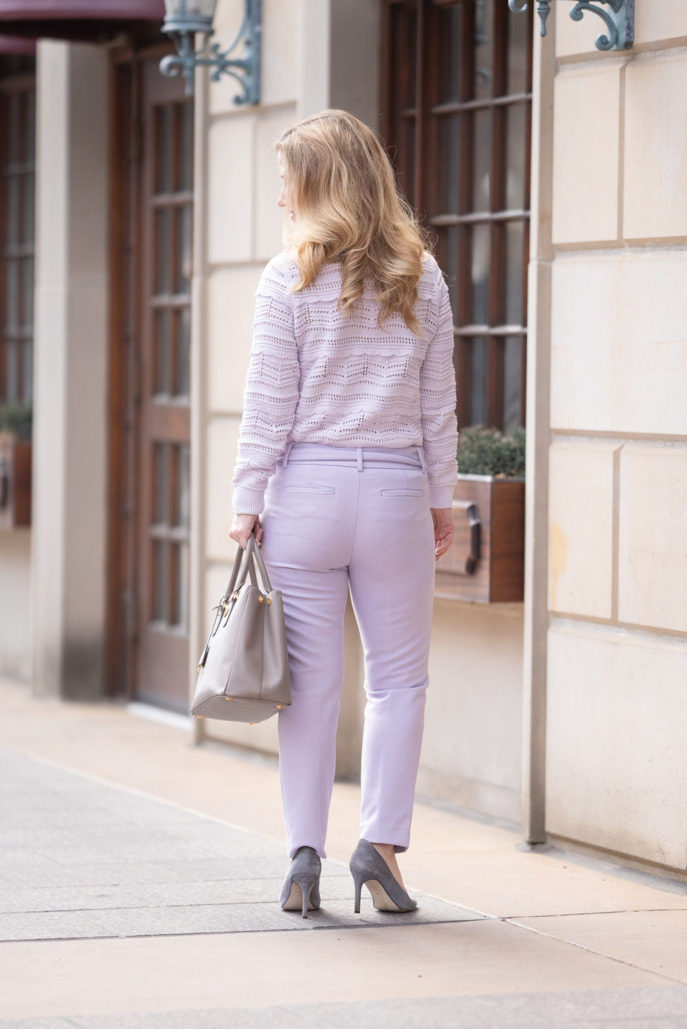 Petite Fashion Blog | Loft tie Waist Pants | Prada Galleria Tote