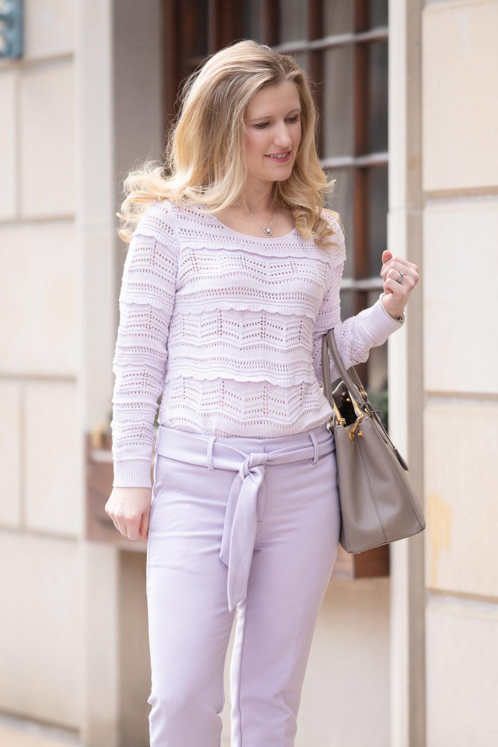 Petite Fashion Blog | Loft tie Waist Pants | Prada Galleria Tote