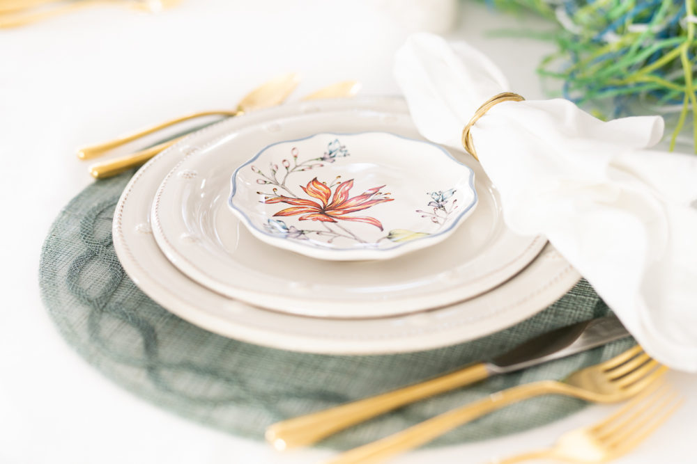 Petite Fashion Blog | Spring Tablescape | Easter Tablescape | Juliska Berry and Thread Plates | Juliska Floretta