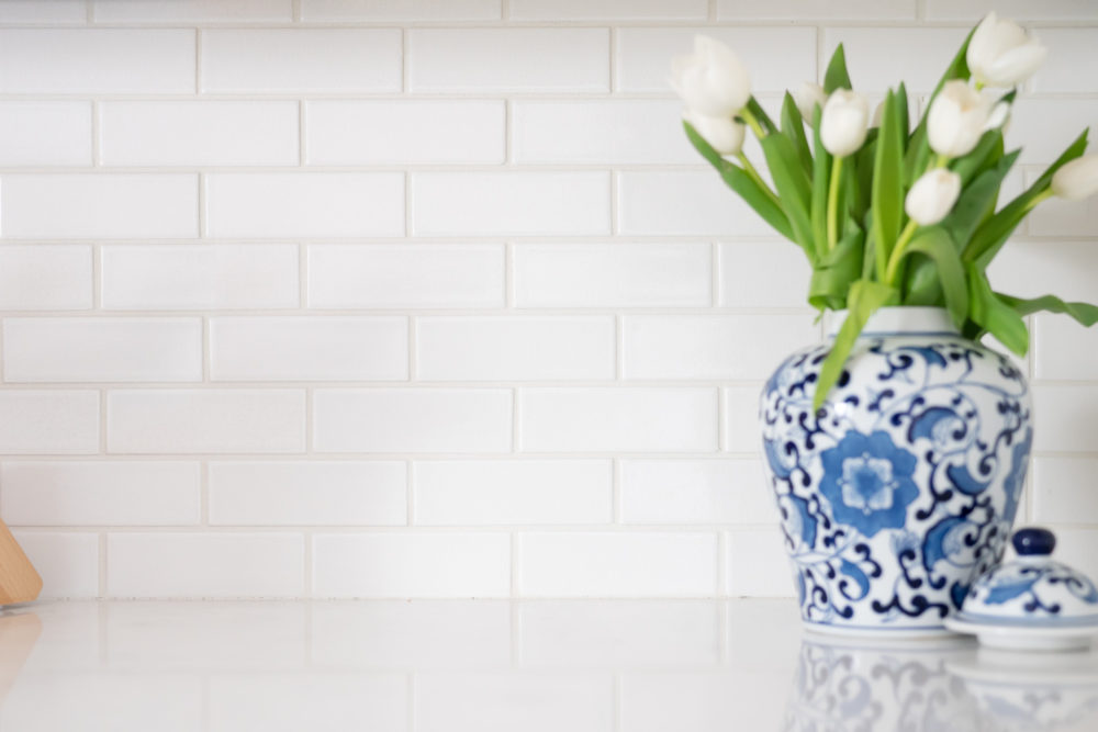 Petite Fashion Blog |White Kitchen | Inset Cabinets | From Overlay to Inset | Fireclay Tile