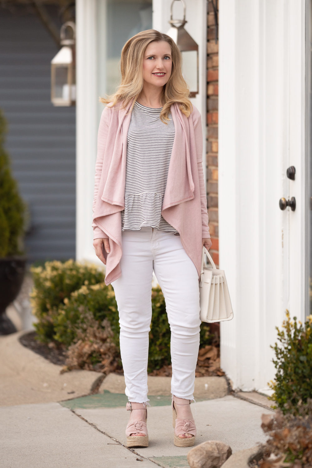 Petite Fashion Blog |Bobeau Cardigan | Hudson White Jeans | Caslon Peplum Tee