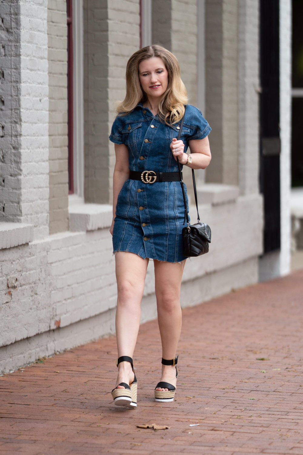Petite Fashion Blog | Free People Denim Dress | Gucci Pearl Belt | Chloe Glyn Espadrilles