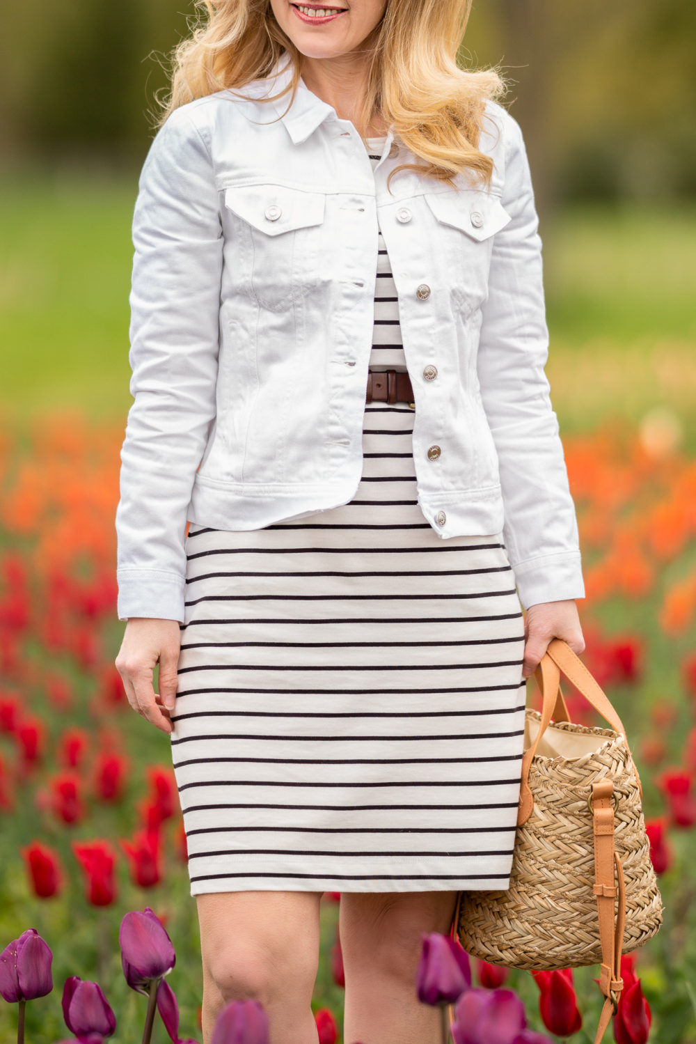 Petite Fashion Blog | Holland Michigan Tulip Time Festival |Holland Tulip Time | Tulip Festival | Tulip Fields | J. Crew Factory Striped Dress | J. Crew White Denim Jacket