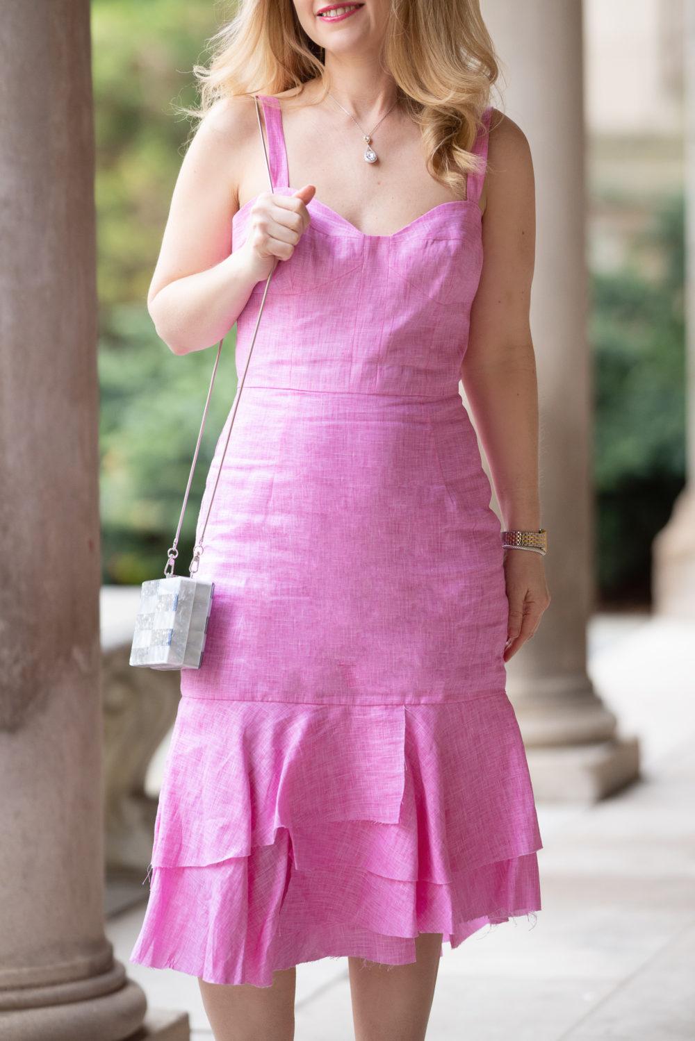 Petite Fashion Blog | Milly Kendal Dress | Milly Box Bag | Jimmy Choo Sandals | eBay Designer Jewelry