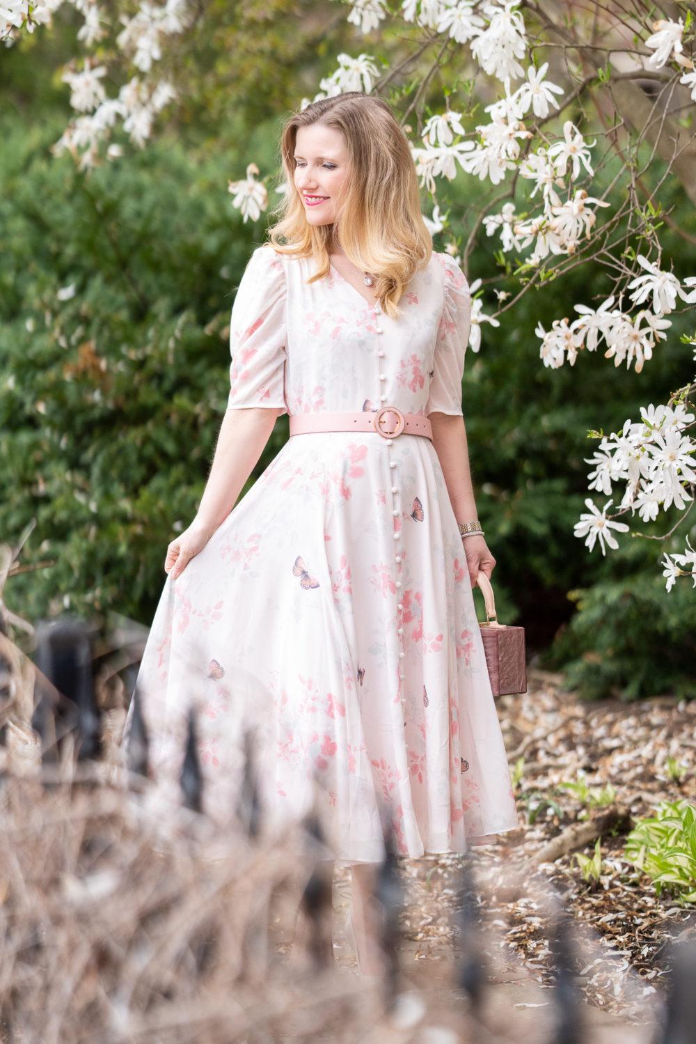 Petite Fashion Blog | Rachel Parcell Romantic Button Front Dress | Rachel Parcell Dresses | Spring Dresses