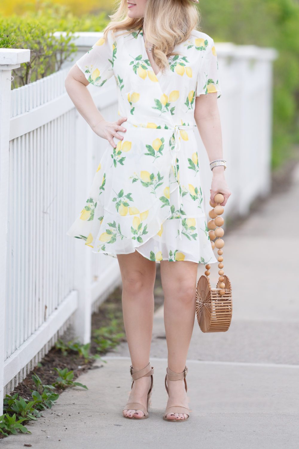 Petite Fashion Blog | Morning Lavender | Miranda Lemon Print Ruffle Wrap Dress | Lemon Dress | Lemon Sundress