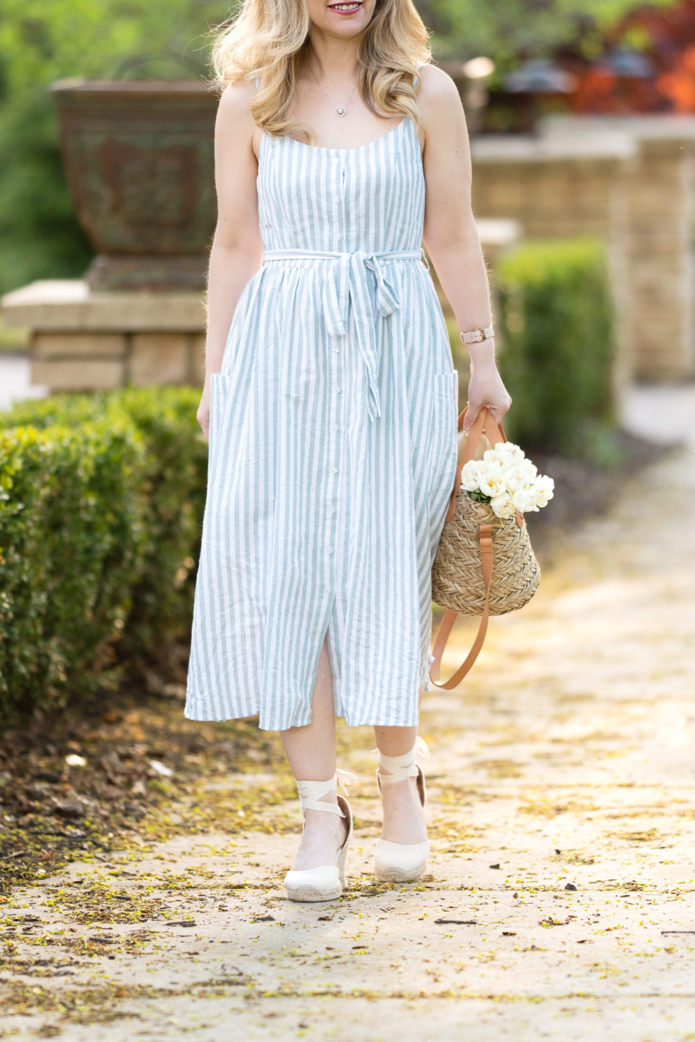 Petite Fashion Blog | Morning Lavender | Elena Mint Green Striped Midi Dress | Striped Dress | Summer Dresses