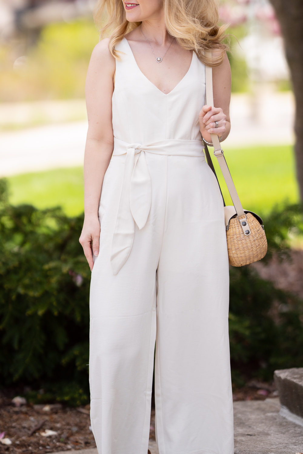 Petite Fashion Blog | Morning Lavender | Meredith Cream Tie Front Jumpsuit | Jumpsuits