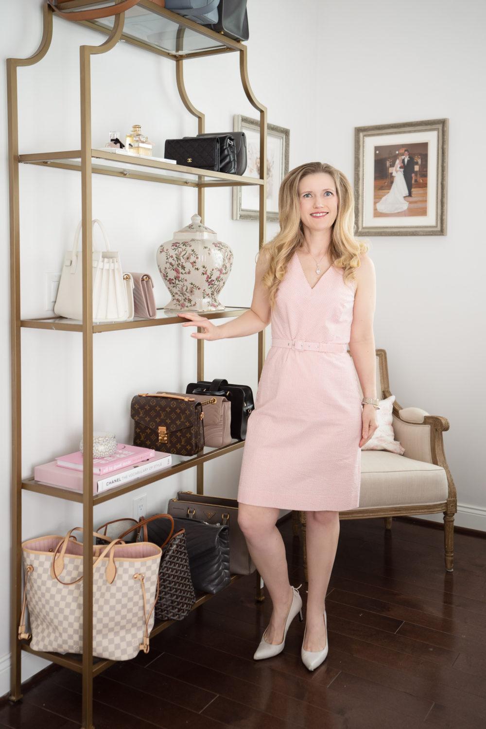 Petite Fashion Blog | J.Crew Factory Belted Dress | designer bags on eBay | eBay luxury bags