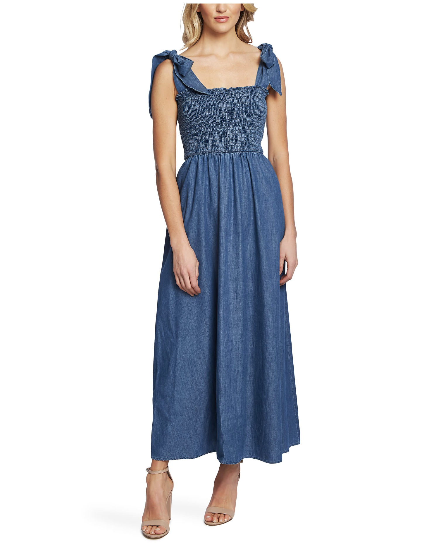 CeCe Tie Shoulder Smocked Denim Maxi Dress