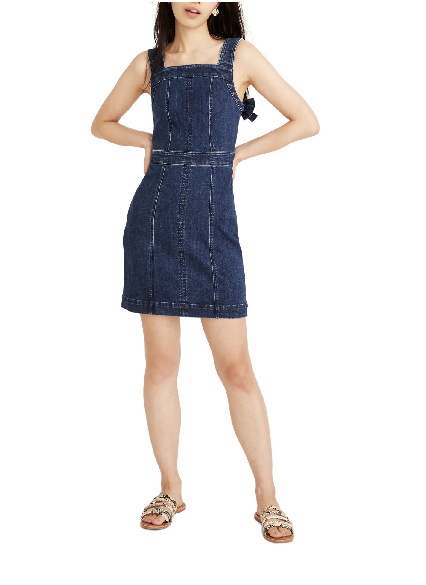 Madewell Denim Apron Bow Back Dress