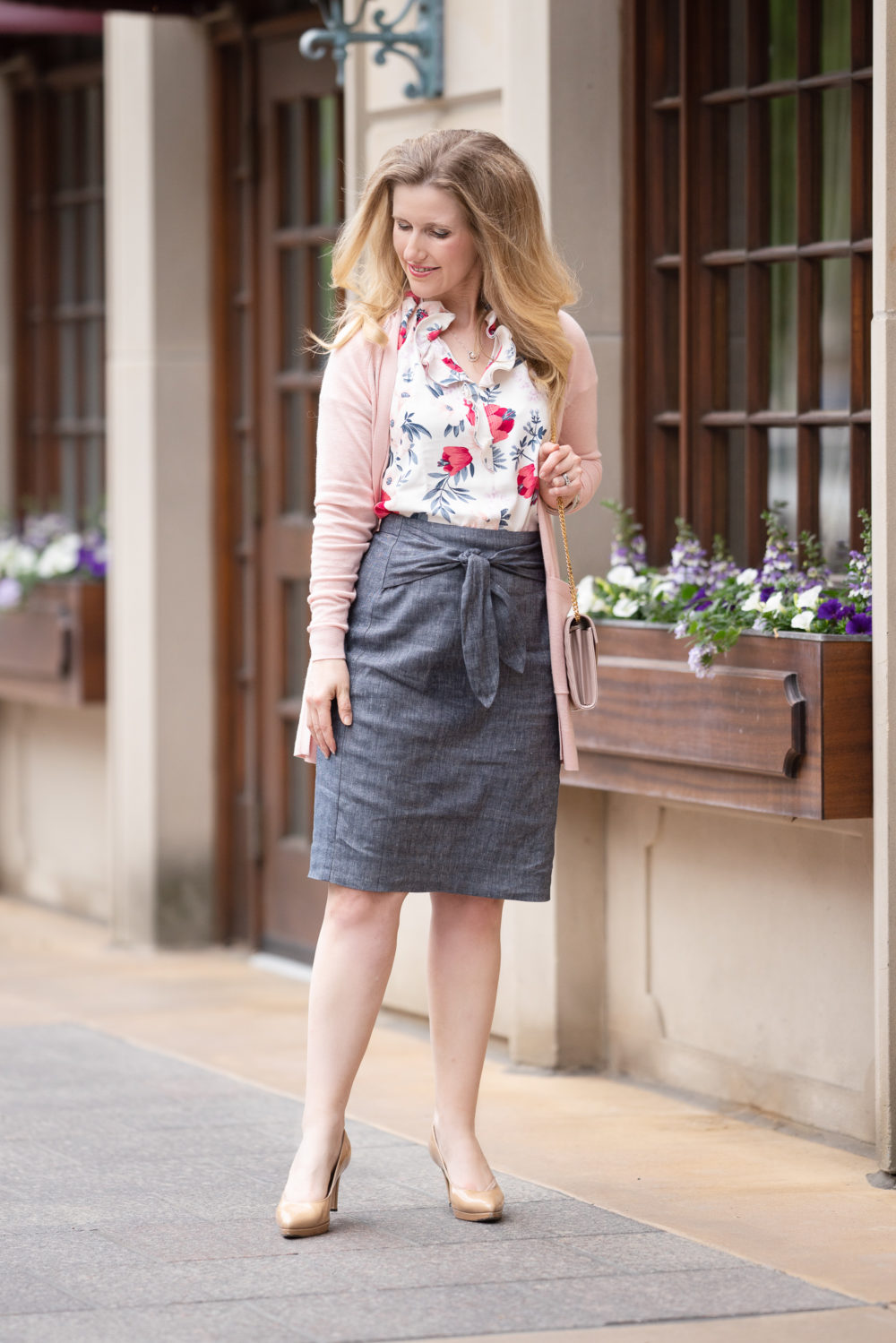 Petite Fashion Blog | Ann Taylor Chambray Tie Waist Pencil Skirt | Floral Cluster Double Ruffle Popover | Ann Taylor Cardigan