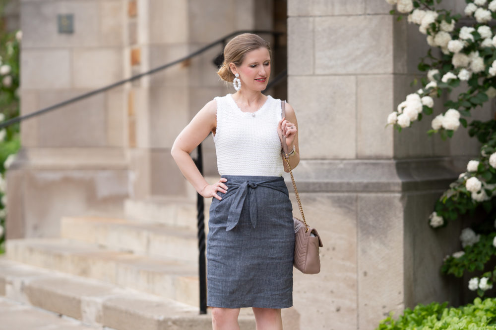 Petite Fashion Blog | Ann Taylor Chambray Tie Waist Pencil Skirt | Ann Taylor Fringe Trim Sweater Shell