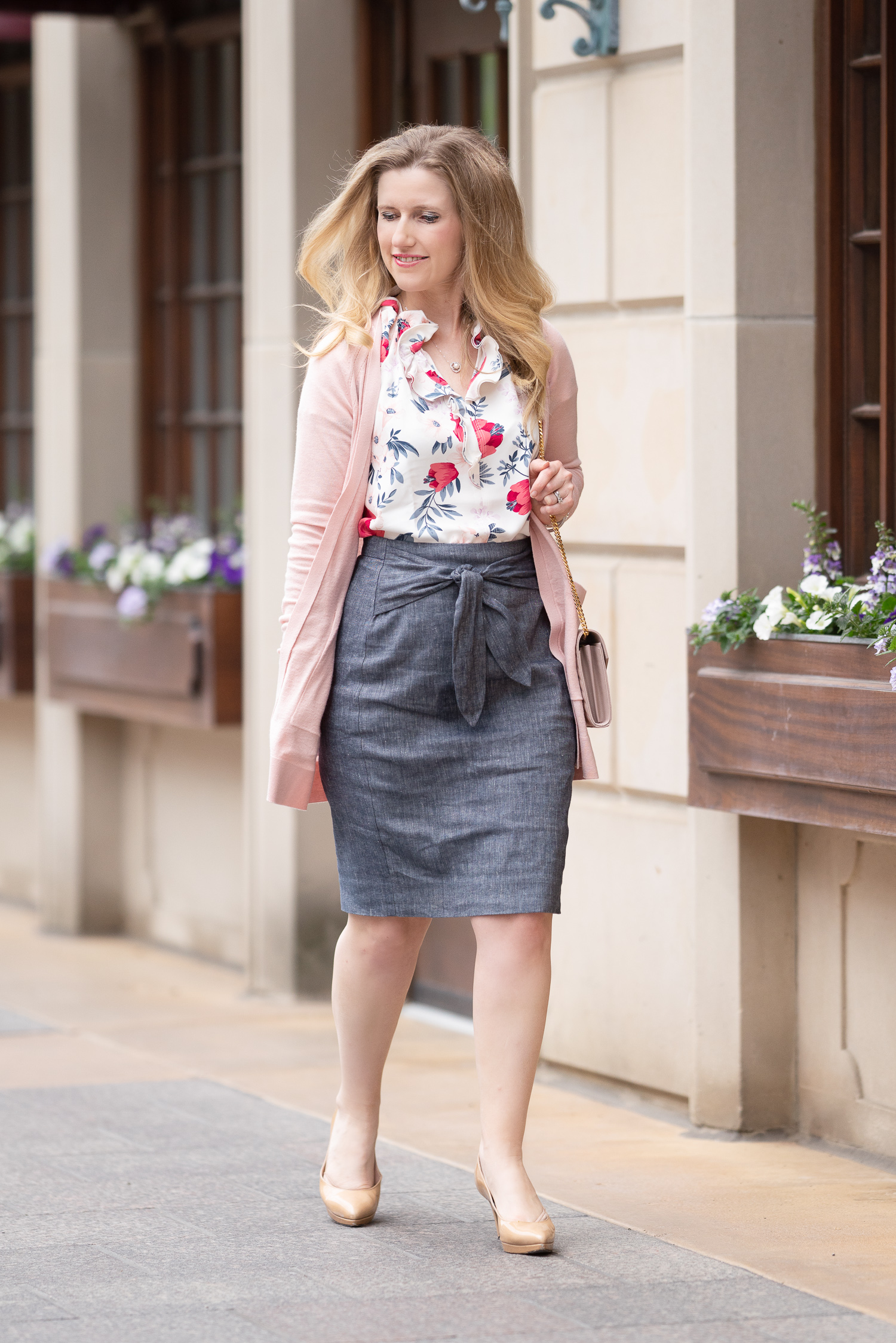 6803131314c8dc Petite Fashion Blog | Ann Taylor Chambray Tie Waist Pencil Skirt | Floral  Cluster Double Ruffle