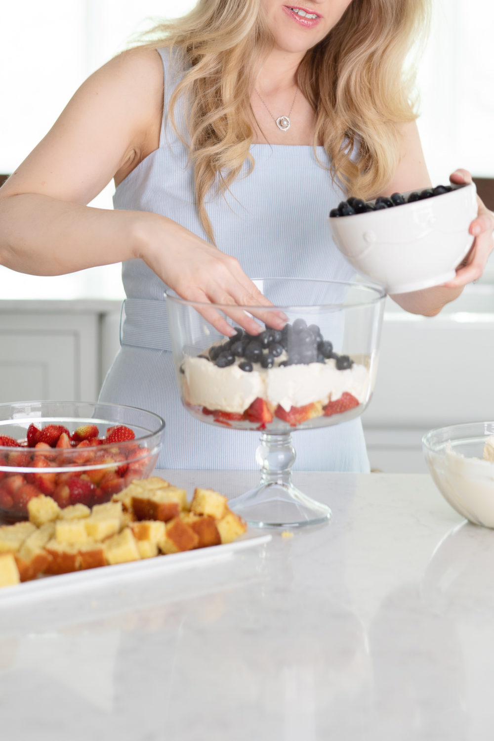 Petite Fashion Blog | Draper James Dress | Berry Trifle Recipe