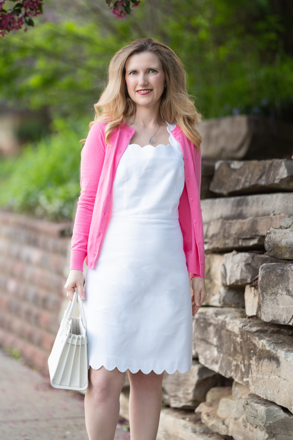 Petite Fashion Blog | J. Crew Factory Basketweave scallop-edge dress | J. Crew Factory Cardigan | Pink Cardigan | White Dresses