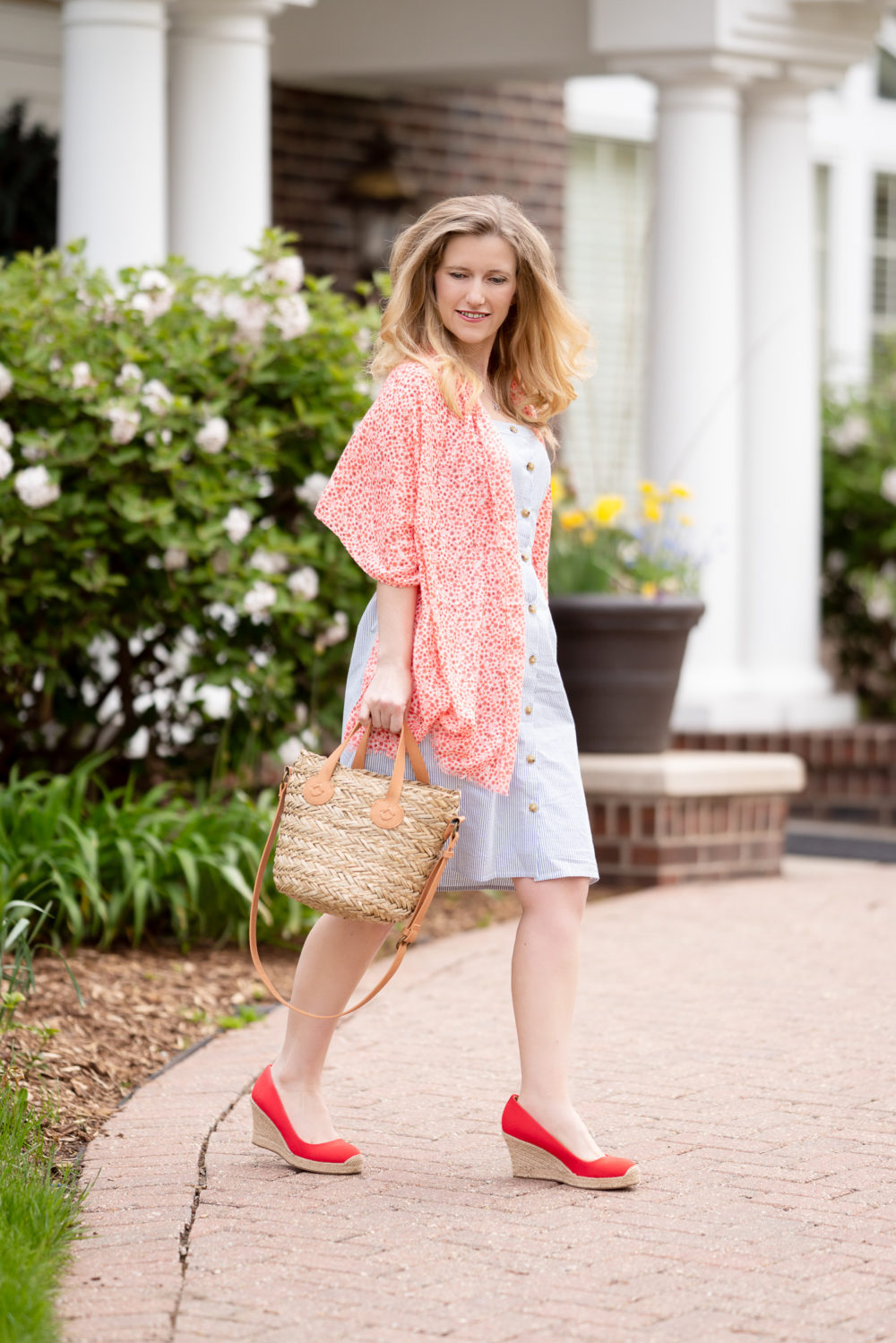 Petite Fashion Blog | J. Crew Factory Button-front dress in seersucker | Stripe sundress | floral scarf | Target straw bag