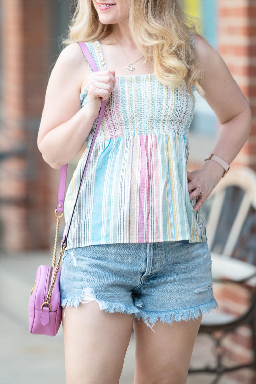 Petite Fashion Blog | Aqua Striped Rainbow Top | Agolde Parker Vintage Cutoff Shorts